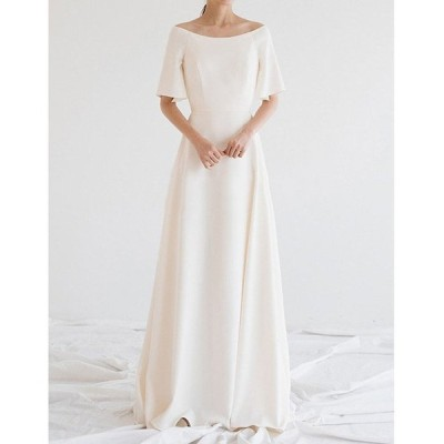 パーティードレス Aラインドレス ウェティグドレス ロングドレス 半袖 結婚式 二次会 海外挙式 花嫁 安い 大きいサイズ 発表会 ワンピース おしゃれ 前撮り