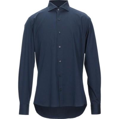 レ コパン LES COPAINS メンズ シャツ トップス solid color shirt Dark blue