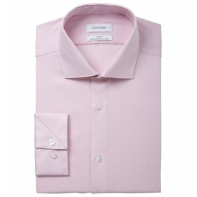 Calvin Klein カルバンクライン ファッション ドレス Calvin Klein Mens Pink Size 16 Slim Fit Woven Performance Dress Shirt