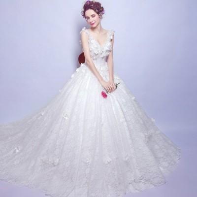 ウェディグドレス プリンセスラインドレス ドレス 安い パーティードレス ロングドレス 花嫁 二次会 海外挙式 大きいサイズ 結婚式 トレーン 送料無料