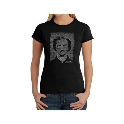 エルエーポップアート レディース シャツ トップス Women's Word Art T-Shirt - Edgar Allen Poe - The Raven