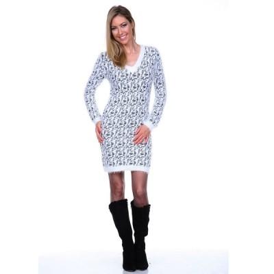 ホワイトマーク ワンピース トップス レディース Women's Angora Like Sweater Dress Grey
