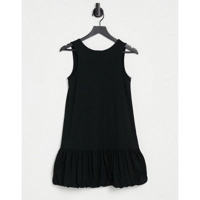 エイソス レディース ワンピース トップス ASOS DESIGN bubble hem v back sleeveless dress in black Black