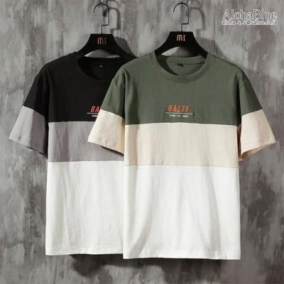 ボーダーtシャツ メンズtシャツ ロゴ刺繍 クルーネック 半袖 tシャツ カットソー トップス ロゴT 100%コットン