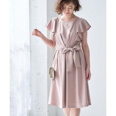 ドレス 【結婚式にも】【WEB限定】フリルスリーブワンピース