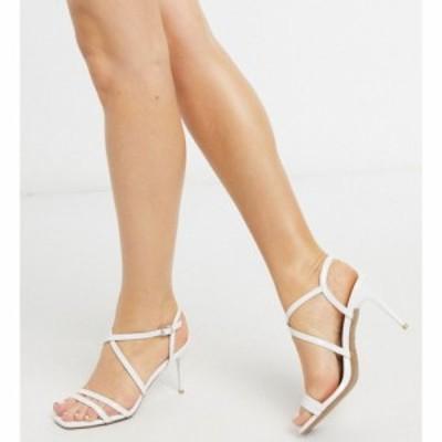 ニュールック New Look レディース ヒール シューズ・靴 strappy leather look stilettos in white ホワイト