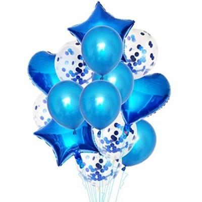 アルミ風船 イベントパーティー 星型バルーン ハート型 丸風船 キラキラ入り 誕生日 結婚式 パーティーデコレーション用セット (ブルー)