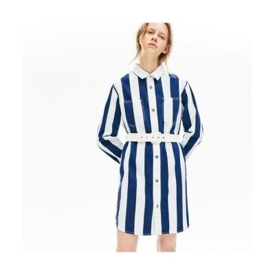 LACOSTE/ラコステ ストライプコットンシャツドレス ホワイト×ブルー 36(M)