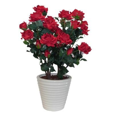バラ鉢植え 造花 光触媒(空気清浄) アートフラワー 2本立  レッド
