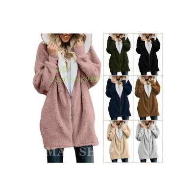 ムートン風コート 厚手 柔らかい 冬物 ゆったり 無地 ファッション レディース カジュアル コート 長袖 新作 防寒 上着 ふわふわ 暖かい フード付き