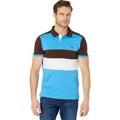 ユーエスポロアッスン U.S. POLO ASSN. メンズ ポロシャツ スリム トップス Slim Fit Chest Stripe Color Block Polo Shirt Dark Stallion