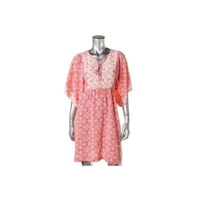 ムーンメードウ ドレス ワンピース Moon & Meadow 3272 レディース ピンク シルク Keyhole Kimono スリーブs カジュアル ドレス XL BHFO