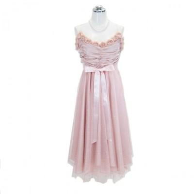 パーティードレス フォーマルドレス 胸元バラ付きドレープドレス ピンク 15号 P67