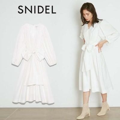 SNIDEL スナイデル 通販  ORGANICSタフタボリュームミディワンピース swfo211168 レディース 2021春夏 ドレス