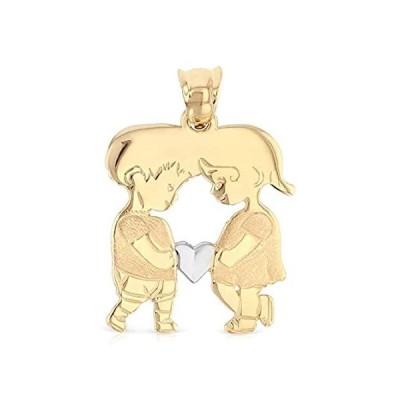 【新品】Ioka - 14K イエローゴールド 女の子と男の子 ハートチャームペンダント ネックレスまたはチェーン用