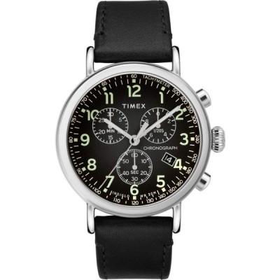タイメックス Timex メンズ 腕時計 クロノグラフ 41 mm Standard Chronograph Leather Strap Silver/Black/Black
