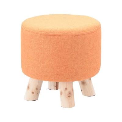 オットマン/腰かけ椅子 〔ラウンド オレンジ〕 幅280×奥行280×高さ280mm 綿 木製 脚付き 『ミニファブリックスツール』〔代引不可〕