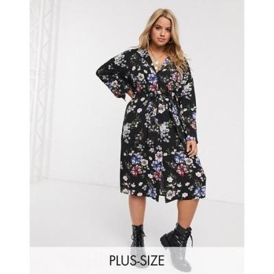 ニュールック レディース ワンピース トップス New Look Curve belted long sleeved shirt dress in black floral
