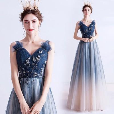 カラードレス パーティードレス 結婚式 Aライン ロングドレス ウェディングドレス 二次会ドレス イブニングドレス 大きいサイズ 演奏会 お花嫁ドレス 姫系