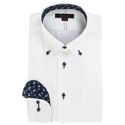 形態安定レギュラーフィット ボタンダウングラデーションステッチ長袖ビジネスドレスシャツ