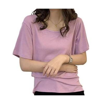 rise レディース モーダル Tシャツ ラウンドネック 半袖 ルーズトップ フリーサイズ color (紫)