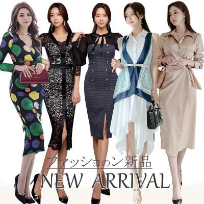 【当季最新品】高品質韓国ファッションOL正式な場合礼装ドレスセクシーなワンピース一字肩二点セット側開深いVネックやせて