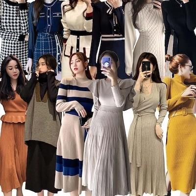 3枚+1枚5枚+2枚 2021春夏の大販促高品質ワンピースニットワンピース韓国ファッション着痩せワンピース限定発売上品着回し抜群Vネック セーターニットドレスロングスカー