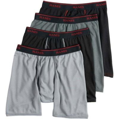 ヘインズ HANES メンズ ボクサーパンツ 4点セット インナー・下着 Ultimate Sport Mesh Boxer Briefs, 4-Pack GREY/BLACK