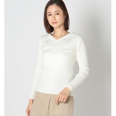 【ミューズ リファインド クローズ/MEW'S REFINED CLOTHES】 シアーレース刺繍リブニット