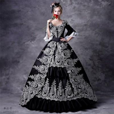 貴族 ドレス お姫様 カラー ステージ衣装 大きいサイズ ロング 衣装 王族服 バロック風 宮廷 豪華なドレス 舞台衣装 プリンセスライン お嬢様