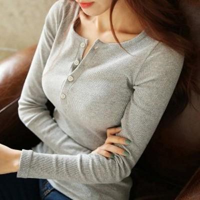 Tシャツ トップス レディース オシャレ tシャツ 韓国風 長袖 着痩せ 30代40代 インナー コーデ 秋 4色 無地 ボタン