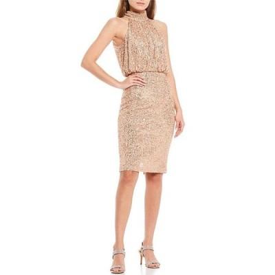エリザジェイ レディース ワンピース トップス Halter Neck Sequin Blouson Knee Length Dress