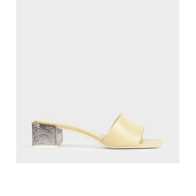 スカルプチャーヒール オープントゥミュール / Sculptural Heel Open Toe Mules (Beige)