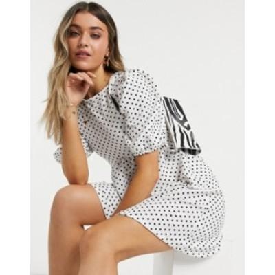 トップショップ レディース ワンピース トップス Topshop polka dot babydoll dress in white Multi