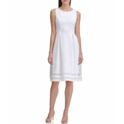 トミー ヒルフィガー レディース ワンピース トップス Sleeveless Scuba Crepe Mesh Detail Fit & Flare Dress Ivory