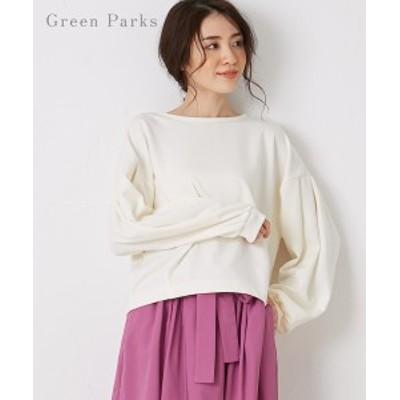 チュニック レディース Green Parks グリーンパークス WEARS ボリューム 袖 プルオーバー Black/Off White ニッセン