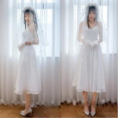 ミモレ丈 二次会 ウェディグドレス 花嫁 パーティドレス 結婚式 白 ワンピース 演奏会 大きいサイズ 小さいサイズ ドレス 発表会 安い 前撮り