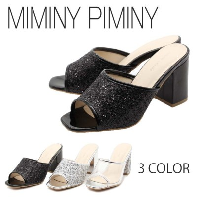 MIMINY PIMINY ミミニーピミニー サンダル ミュール ヒール 美脚 つっかけ きらきら クリア 10-7558