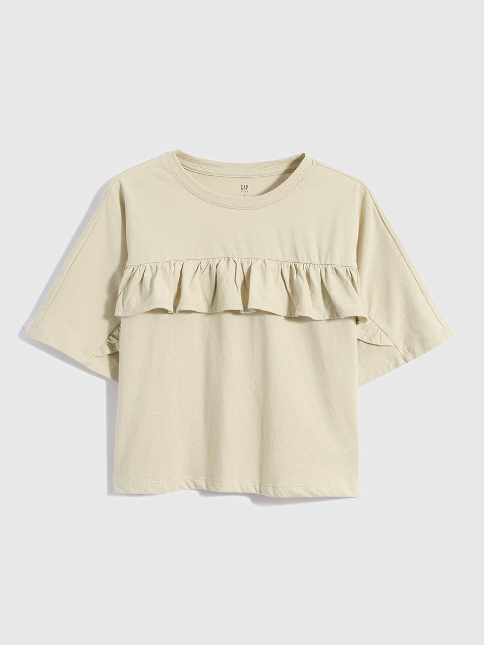 女童 純棉荷葉邊蝙蝠袖T恤