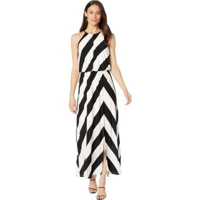 ロンドンタイムス London Times レディース ワンピース マキシ丈 ワンピース・ドレス Stripe Play Blouson Halter Maxi Dress Black/White