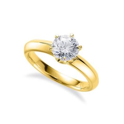 指輪 18金 イエローゴールド 天然石 一粒リング 主石の直径約5.2mm ソリティア 六本爪留め K18YG 18k 貴金属 ジュエリー レディース メンズ