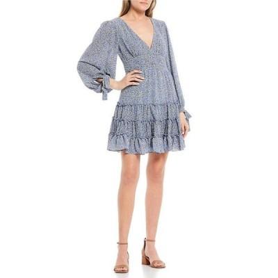 ビーダーリン レディース ワンピース トップス Long Sleeve V-Neck Tiered Ditsy Print Dress