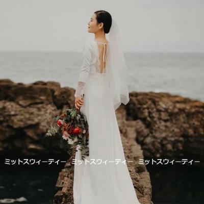 ウェディングドレス ロングドレス 結婚式 ウエディングドレス 長袖 二次会 花嫁 前撮り エレガント サテン ホワイト シンプル リゾート 写真撮影 ワンピース