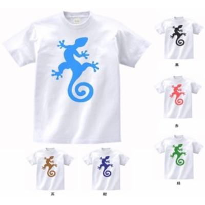 デザインTシャツ トカゲ とかげ 白