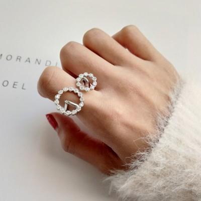 指輪 レディース オープンリング ラインストーン ビジュー かわいい おしゃれ 小物 雑貨 プレゼント 誕生日 クリスマス