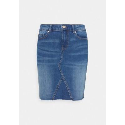 オンリー スカート レディース ボトムス ONLFAN SKIRT RAW EDGE - Mini skirt - medium blue denim