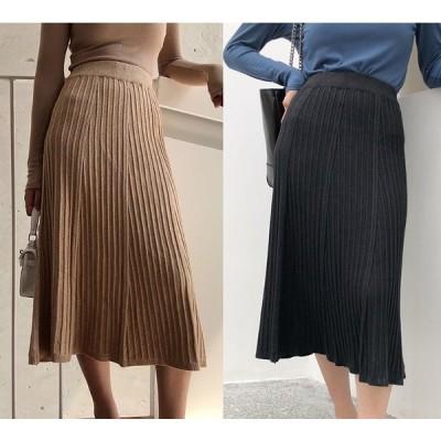 全2色 スカート フリル ハイウエスト カットソー 無地 シンプル カジュアル