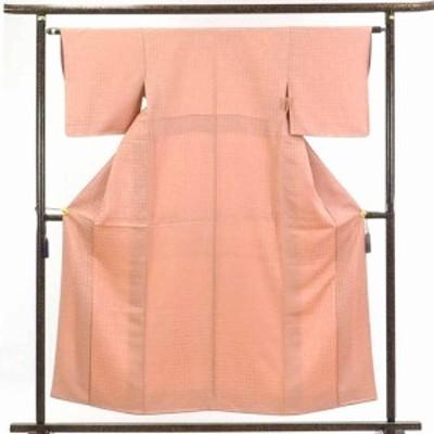 【中古】リサイクル着物 小紋 / 正絹ピンク地袷小紋着物 / レディース【裄Sサイズ】