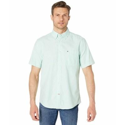 トミー ヒルフィガー シャツ トップス メンズ Stripe Short Sleeve Button-Down Shirt in Classic Fit Sky Valley Green