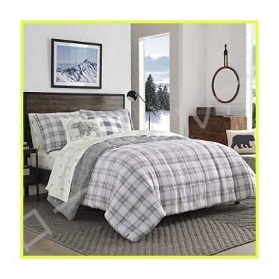 Eddie Bauer Sherwood Sherpa Comforter Set, King, Grey Plaid 並行輸入品
